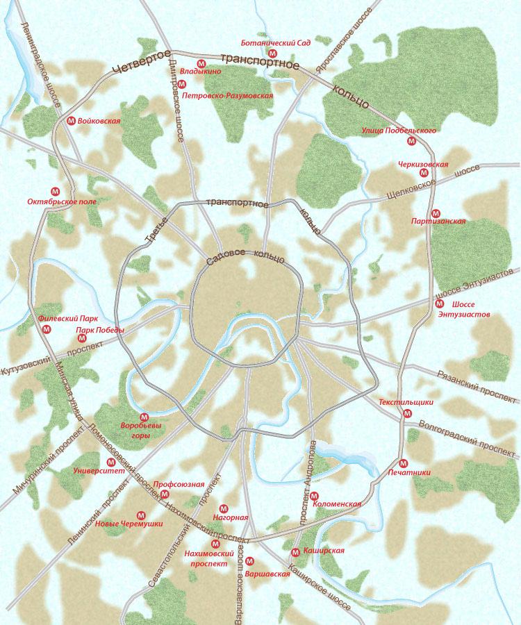 кольцо на карте Москвы