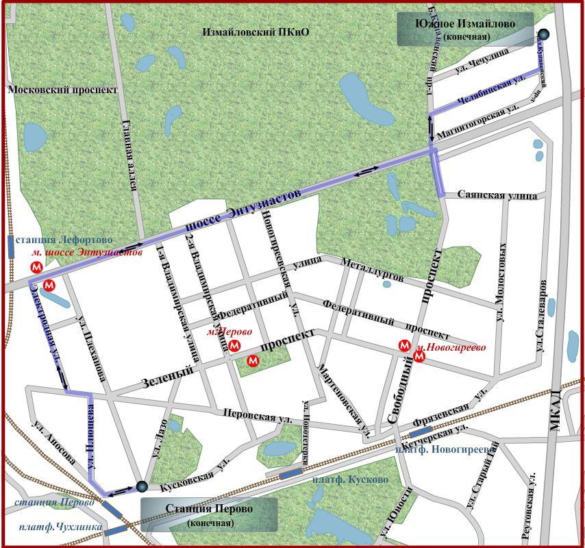 Схема движения автобуса 214 Южное Измайлово - Станция Перово длина маршрута 10,4 км.