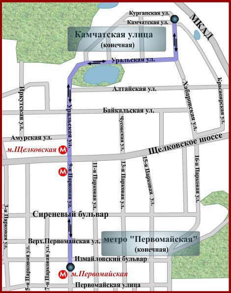 Схема движения автобуса № 223