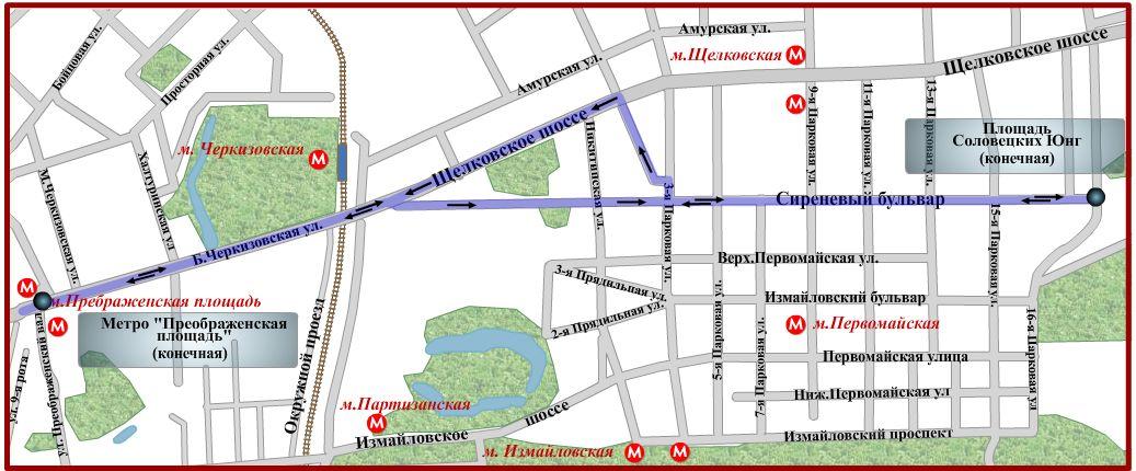 Схема движения автобуса № 230