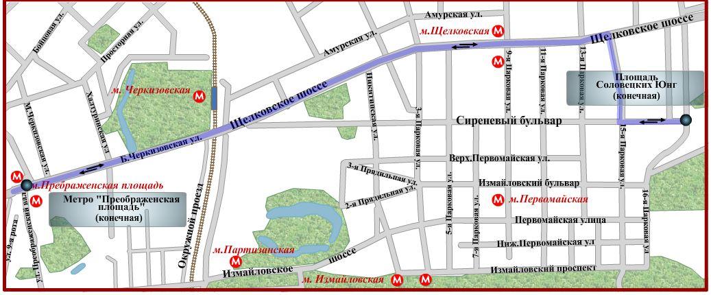 Схема движения автобуса № 52