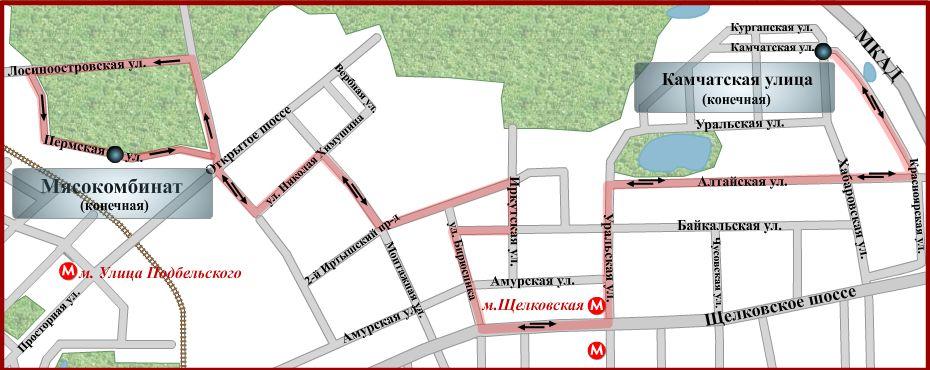 схема движения автобуса № 627