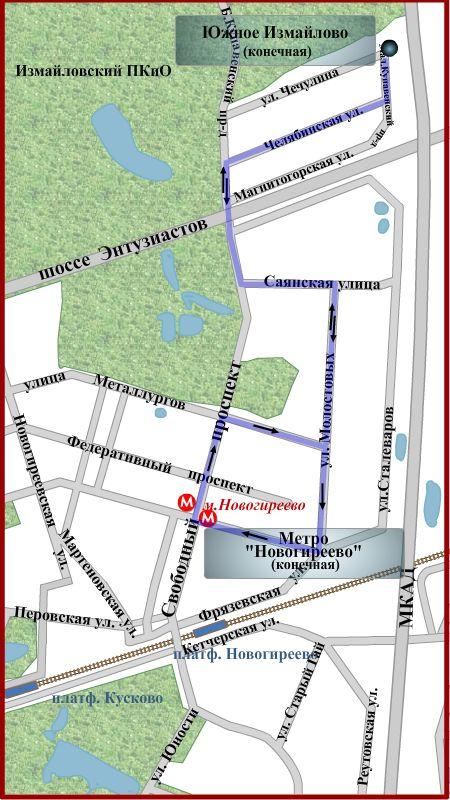 """Схема движения автобуса 776 Южное Измайлово - Метро  """"Новогиреево длина маршрута 6,2 км."""