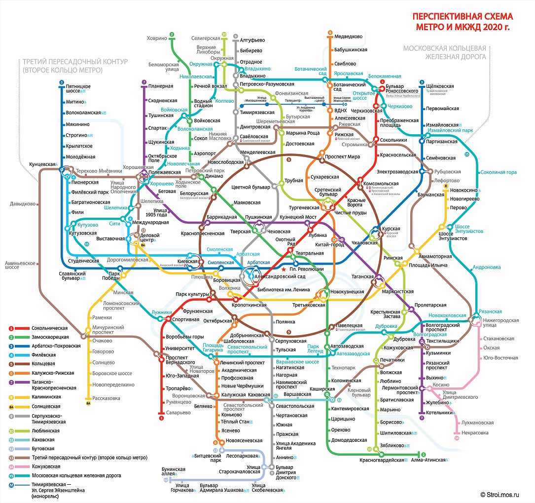 схема метро с электричками москва